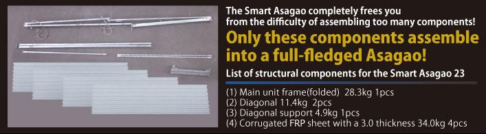 部品が多すぎて難しいという悩みは一切ありません!この僅かな部品で本格アサガオが施行出来ます!
